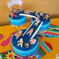 Pool Party We have a few family members that were born on April so I baked this cake for them and included each of us