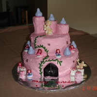 Fairy Castle  I made this for my daughter's 6th bithday as she loves fairies. I used marshmallows as the toadstools. The turrets were swiss rolls...