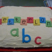 Letterland Cake   I made this for a Letterland party my daughter was having at school. Buttercream icing, fondant letters.
