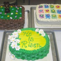 Cakes For Easter The white cake is a French Vanilla filled with Lemon and Iced in a Vanilla BC, topped with Colored Coconut and Mini Choc. Eggs ~~~ The...