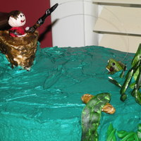 Fishing Lover's Cake   Grass, fish and person are gumpasteBoat is cakeTFL!