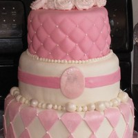 Sweet 16 In Pink Pink sweet 16 cake covered and decorated in Fondant ..dusted in pearl and silver shimmer