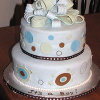 Turtle Baby Shower MMF and mmf accents covering a french vanilla cake with vanilla buttercream filling. Cake was designed after the baby's nursery...