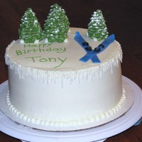 Skiing Winter Birthday Cake Vanilla cake iced with buttercream, and BC icicles and fondant skis and trees dusted with powdered sugar for snow