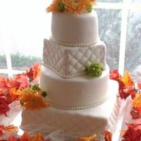 Fall Wedding My second wedding cake4 tier round and square covered in Fondant square layers quiltedfresh flower Spider and button mums