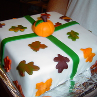 First Fondant Cake - Fall For Wilton's Course 3, second class, our teacher let us be flexible. This was for my in-laws, in from Houston where they never get to...