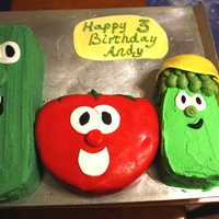Veggie Tales Made with one cake mix in a 6 inch round and an 8 inch square pans. I cut the square diagonally for Larry, and used one of the corners for...