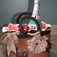 Juicy Couture Handbag With A Chocolate Bottle Of Champagne Was made by myself for my own birthday -)