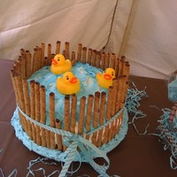 Lil Ducky Cake Three little ducks swimming in pond. It's went over well at a Baby shower