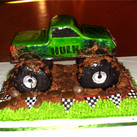 The Hulk Monster Truck  i made this cake for a kid's birthday party. he loves monster trucks and Hulk. It was made of fondant, the wheels were made of rice...