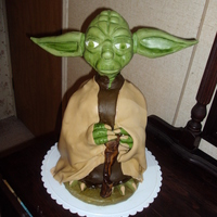 Yoda  This cake was made for a star war's fan, The cake is chocolate with oreo's buttercream. The head is made of rice crispies and...