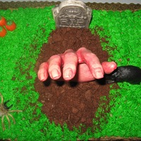 Hand Out Of The Grave  The cake is for a Halloween party and it's made of a 2 layer sheet cake. Vanilla and chocolate with buttercream frosting. The hand,...