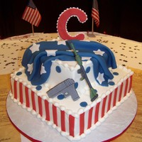 Patriotict Grooms Cake The groom is very patriotic and loves the 3rd Amendment. Buttercream Icing with gumpaste and fondant decorations.