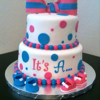 "The ""it's A... Baby Shower Cake   This cake was for sisters, one having a boy and one having a girl. TFL!"