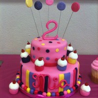 The Pink Cupcake Party Cake   MMF over butter cake. Mini cupcakes are mmf also. I used ck hot pink gliter for the name and #2. TFL