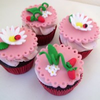 Strawberry Baby Shower Cupcakes I had so much fun making these for a baby shower. The cupcakes are chocolate and the frosting is strawberry SMBC. The cupcake toppers are...