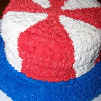 Uncle Sam's Hat 3 layer white cake- top layer dyed red and bottom layer dyed blue. buttercream icing. for our family to celebrate the 4th. thanks for the...