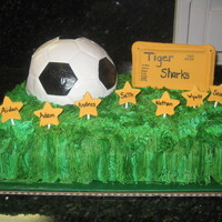 Soccer Ball Cake  Way to go! My friends son finished his first season of soccer... and what a way to celebrate... cake. This was my first time making little...