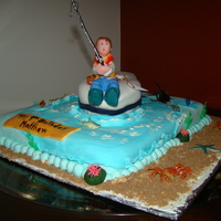 Little Fisherman Its a Milkyway and Pecans Cake, cover it with gumpaste, the fisherkid is made with gumpaste ,the beach is a mix of brown sugar and graham...