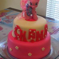 My Little Pony   I made this Keylime and strawberry cake for one of my daughter's birthday because she loves ponies. Thanks for looking.