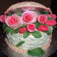 Mother's Day Cake Fruit Cake, Royal Icing and marzipan roses.