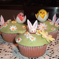 Easter Cupcakes Vanilla Sponge and Chocolate Ganache decorated with Fondant. All edible bar the chick!