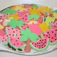 "Summer Cookie Platter the platter i created for a school as a thank you - also pat of my entry for the June cookie club theme and my ""Great icing experiment..."