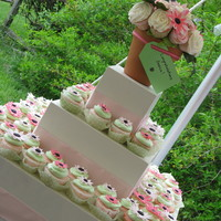 Bridal Shower Cupcake Tower With Cupcake Bouquet