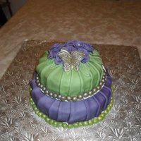 Green And Purple! red velvet cake with cream cheese icing and cream cheese flavored fondant!!! thanks for looking!