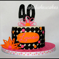 "40Th Birthday Quilling Fun My version of the quilling cakes I've seen here on CC. 7"" round. White velvet cake with vanilla buttercream. The birthday girl..."