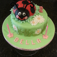 "Ladybug Cake   The first of two ladybug cakes I made. 10"" lemon cake with buttercream filling, decorations are all fondant"