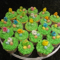 Easter Chick Cupcakes This years' easter cakes for my daughters' daycare. The chicks and chocolate eggs are bought from the store, cupcakes were...
