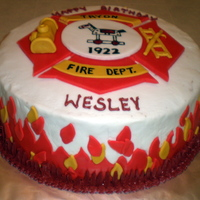 Fire Department Birthday Fondant over buttercream. Hand painted and molded fondant.