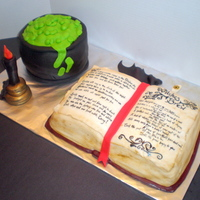 Witches Halloween Cauldron & Spellbook   Fondant over buttercream. Hand painted spellbook. 100% edible.
