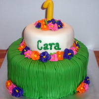 Luau 2 Tier Stack Vanilla butter cake with MMF over buttercream. 100% edible