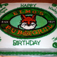 Elmo's Pub & Grill Employee Birthday Hand painted fondant on buttercream.