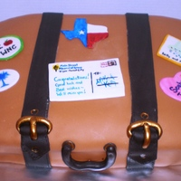 Going Away - Bon Voyage Suitcase Fondant over buttercream. 100% edible. Stickers and postcard are hand painted fondant.