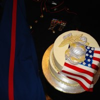 Marine Corps 234Th Birthday This was my first cake i sold. I made it for my husbands work for the cake cutting ceremony. The emblem is made out of white chocolate and...
