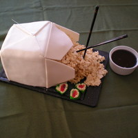 Chinese Take-Out Box   carved 5 layer 8-in square covered in fondant. rice crispy treat rice, candy sushi, and chocolate syrup soy sauce