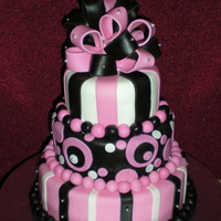 Pink And Black This 3 tier stacked cake is for my best friend's bridal shower. homemade mmf. silver dragee accents.