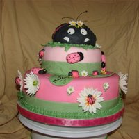 Pink Lady Bug this is was one of my first creations love this one, al lady bugs was made with fondant and gum paste, the flowers also some with royal...