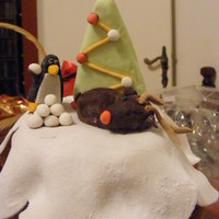 Rudolph And The Penguin Hi, this is my first Christmas cake. The cake is actually an Italian Pandoro, filled with Nutella. The penguin, snowballs, snow and...