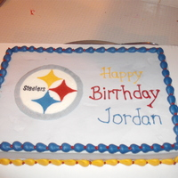 Pittsburgh Steelers Cake 1/4 sheet cake with Steelers logo done using a fbct.