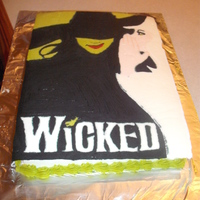 Wicked The Musical Cake Decorated by making a fbct. I made this for my mom's birthday. She's a huge fan of the show just like I am!