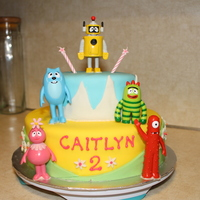 Yo Gabba Gabba Birthday Cake Two tier fondant with Gabba figurines.