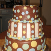 My First 3 Tier Baby Shower Cake. My first 3 tier cake covered with Ganache and fondant. This cake had a lot of issues from the beginning frosting stage (fondant). Made for...