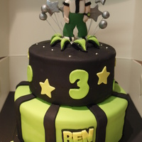 "Ben 10 Cake  This was a last minute cake i made for a friend at work's son's 3rd birthday. 6"" & 8"" chocolate cake with chocolate..."