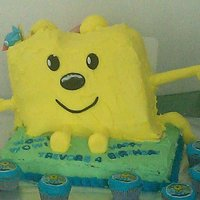 Wow Wow Wubbzy Wubbzy is two cake: devils food w/ choc mousse and lemon with a lemon cream cheese frosting, the base sheet cake is a white almond and the...