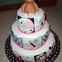 "Baby Julia's Cake The inspiration for this cake was the bedding my friend chose for the baby., it's called ""NoJo Bedding"" with daisies,..."