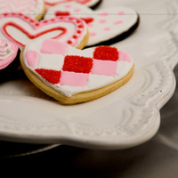 Valentine's Chocolate & Vanilla Sugar Cookies with Royal Icing. Checkered Heart: Flooded Red first, sprinkled with red sugar, and let dry while...